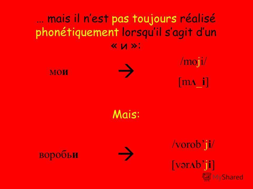 … mais il nest pas toujours réalisé phonétiquement lorsquil sagit dun « и »: мои /moji/ [m Λ _i] воробьи /vorobji/ [vər Λ bji] Mais: