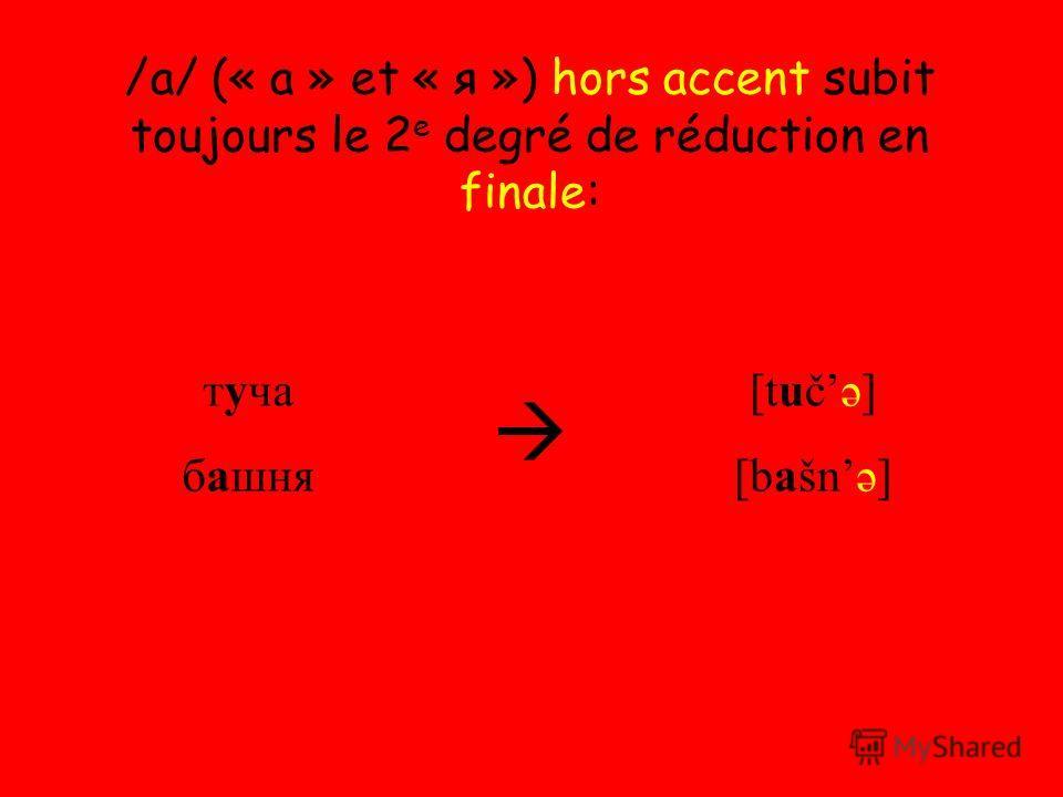 /a/ (« а » et « я ») hors accent subit toujours le 2 e degré de réduction en finale: туча башня [tučə] [bašnə]