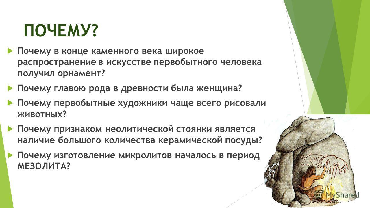 ПОЧЕМУ? Почему в конце каменного века широкое распространение в искусстве первобытного человека получил орнамент? Почему главою рода в древности была женщина? Почему первобытные художники чаще всего рисовали животных? Почему признаком неолитической с