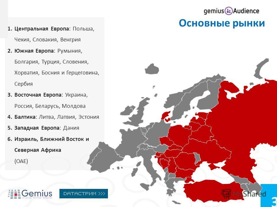 3 1. Центральная Европа: Польша, Чехия, Словакия, Венгрия 2. Южная Европа: Румыния, Болгария, Турция, Словения, Хорватия, Босния и Герцеговина, Сербия 3. Восточная Европа: Украина, Россия, Беларусь, Молдова 4.Балтика: Литва, Латвия, Эстония 5. Западн