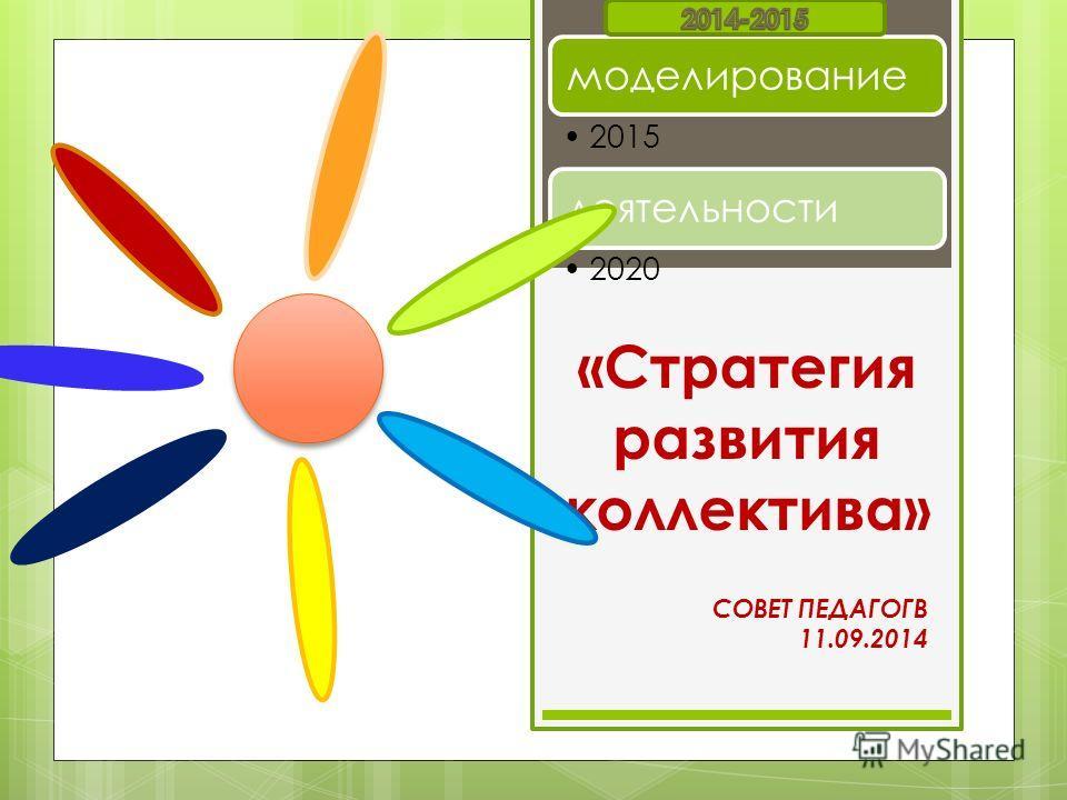СОВЕТ ПЕДАГОГВ 11.09.2014 моделирование 2015 деятельности 2020 «Стратегия развития коллектива»