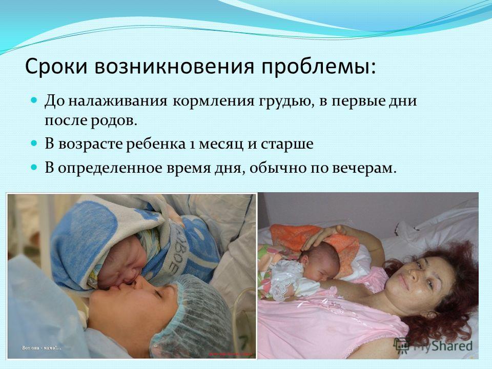 Сроки возникновения проблемы: До налаживания кормления грудью, в первые дни после родов. В возрасте ребенка 1 месяц и старше В определенное время дня, обычно по вечерам.