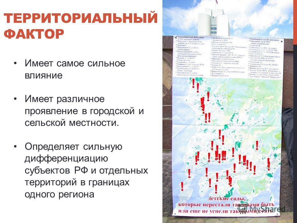 ТЕРРИТОРИАЛЬНЫЙ ФАКТОР Имеет самое сильное влияние Имеет различное проявление в городской и сельской местности. Определяет сильную дифференциацию субъектов РФ и отдельных территорий в границах одного региона