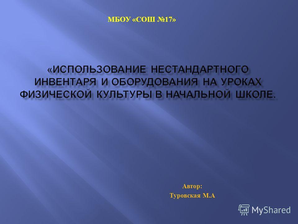 Автор : Туровская М. А МБОУ « СОШ 17»