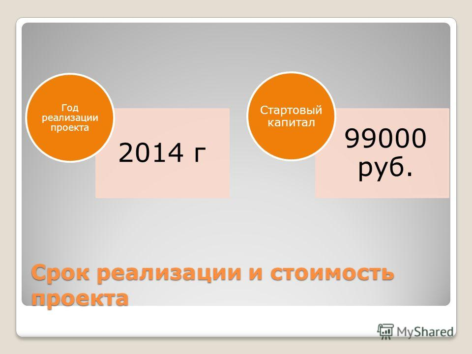 Срок реализации и стоимость проекта 2014 г Год реализации проекта 99000 руб. Стартовый капитал