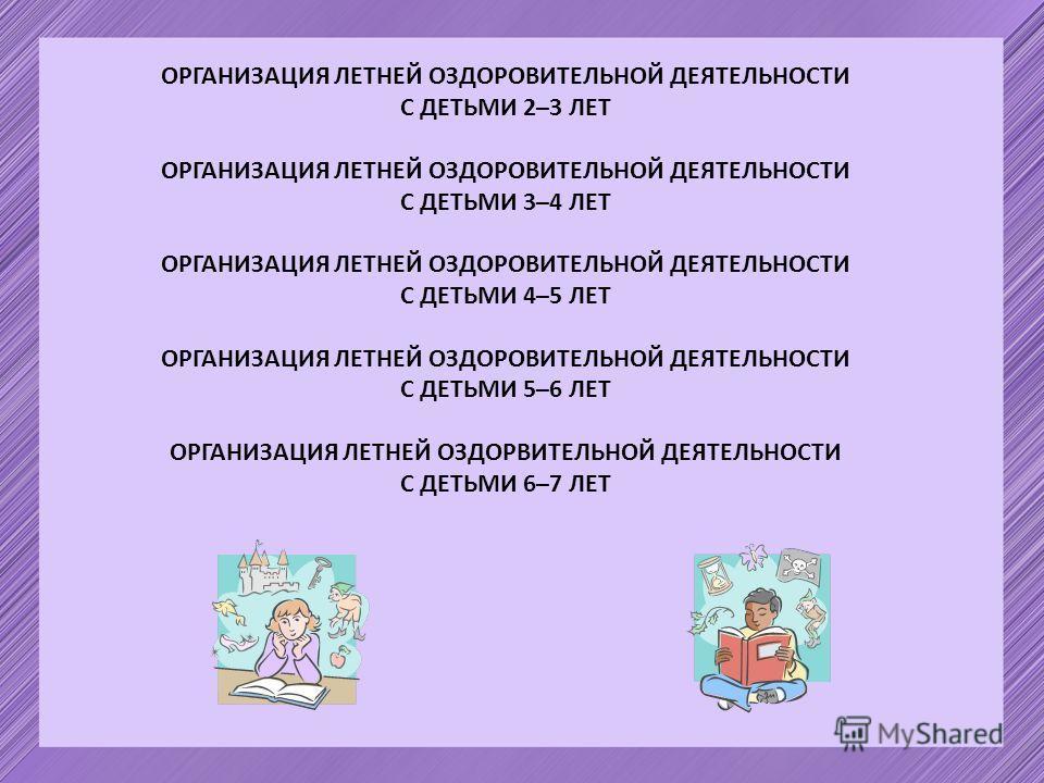 ОРГАНИЗАЦИЯ ЛЕТНЕЙ ОЗДОРОВИТЕЛЬНОЙ ДЕЯТЕЛЬНОСТИ С ДЕТЬМИ 2–3 ЛЕТ ОРГАНИЗАЦИЯ ЛЕТНЕЙ ОЗДОРОВИТЕЛЬНОЙ ДЕЯТЕЛЬНОСТИ С ДЕТЬМИ 3–4 ЛЕТ ОРГАНИЗАЦИЯ ЛЕТНЕЙ ОЗДОРОВИТЕЛЬНОЙ ДЕЯТЕЛЬНОСТИ С ДЕТЬМИ 4–5 ЛЕТ ОРГАНИЗАЦИЯ ЛЕТНЕЙ ОЗДОРОВИТЕЛЬНОЙ ДЕЯТЕЛЬНОСТИ С ДЕТЬМ