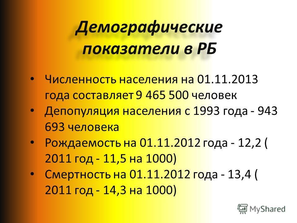 Численность населения на 01.11.2013 года составляет 9 465 500 человек Депопуляция населения с 1993 года - 943 693 человека Рождаемость на 01.11.2012 года - 12,2 ( 2011 год - 11,5 на 1000) Смертность на 01.11.2012 года - 13,4 ( 2011 год - 14,3 на 1000