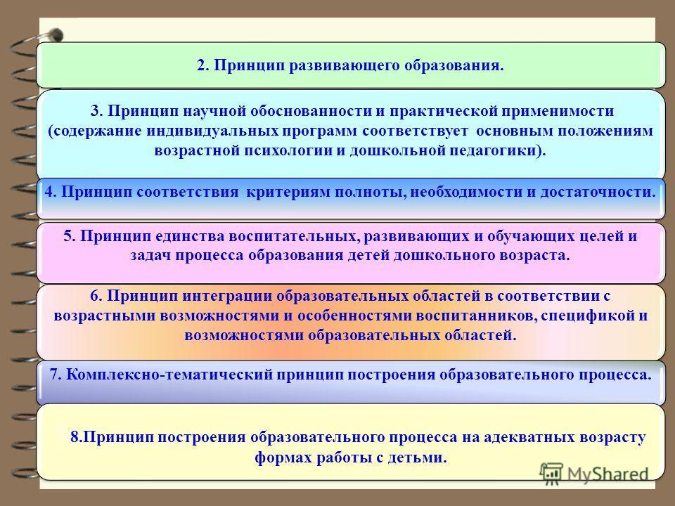 2. Принцип развивающего образования. 3. Принцип научной обоснованности и практической применимости (содержание индивидуальных программ соответствует основным положениям возрастной психологии и дошкольной педагогики). 4. Принцип соответствия критериям