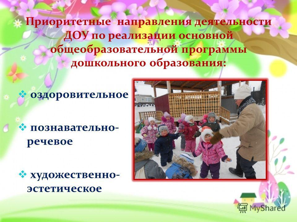 Приоритетные направления деятельности ДОУ по реализации основной общеобразовательной программы дошкольного образования: оздоровительное познавательно- речевое художественно- эстетическое