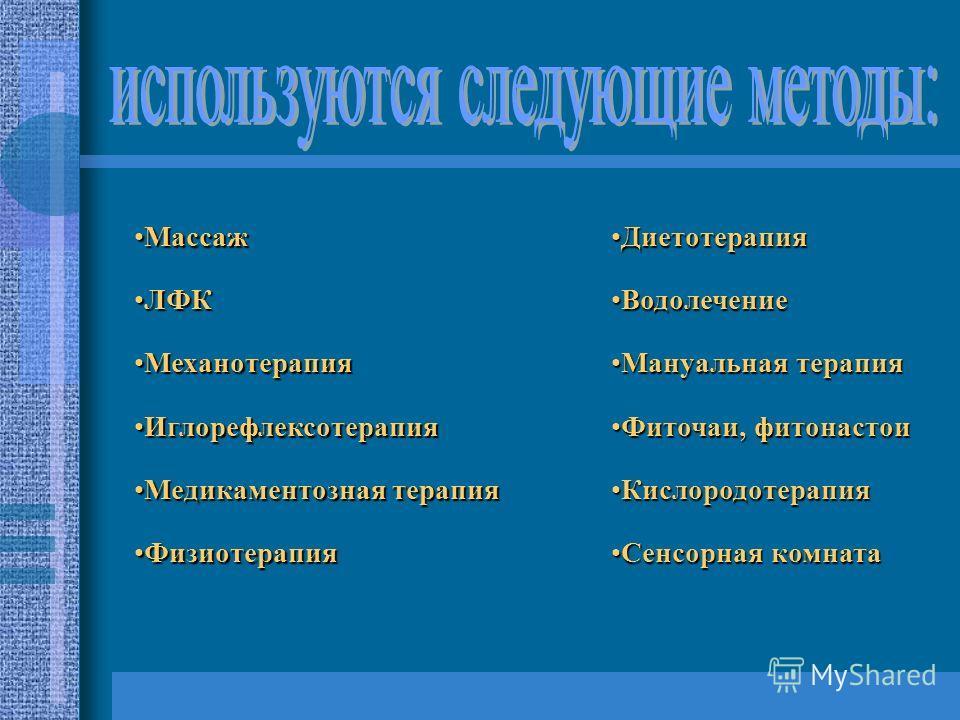 Массаж Массаж ЛФКЛФК Механотерапия Механотерапия Иглорефлексотерапия Иглорефлексотерапия Медикаментозная терапия Медикаментозная терапия Физиотерапия Физиотерапия Диетотерапия Диетотерапия Водолечение Водолечение Мануальная терапия Мануальная терапия