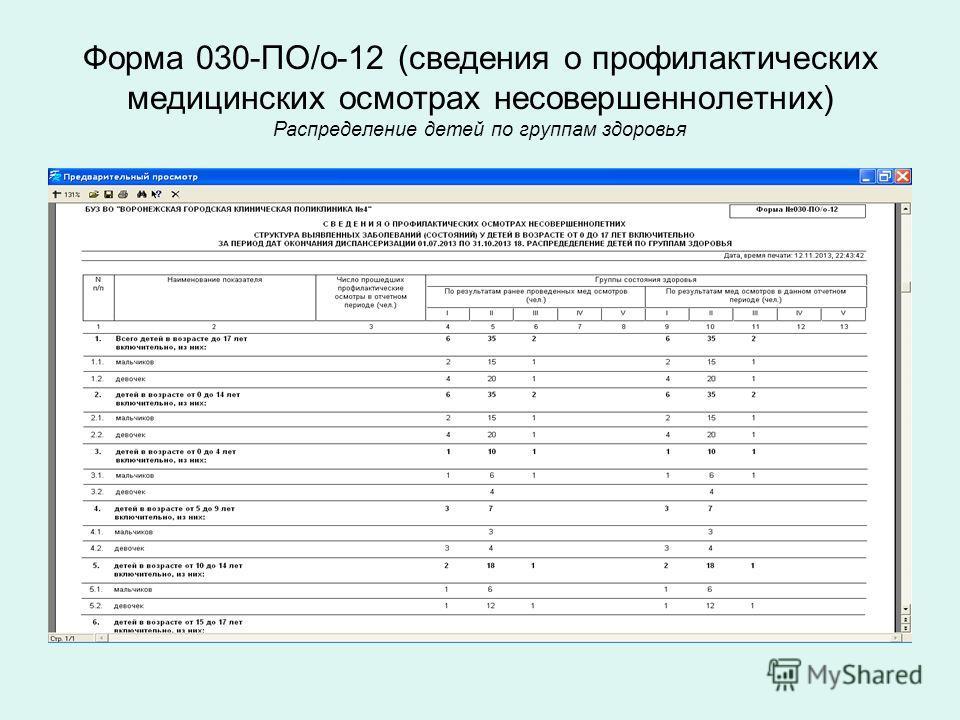 Форма 030-ПО/о-12 (сведения о профилактических медицинских осмотрах несовершеннолетних) Распределение детей по группам здоровья
