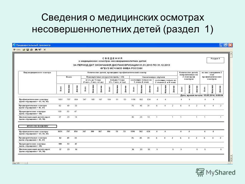 Сведения о медицинских осмотрах несовершеннолетних детей (раздел 1)