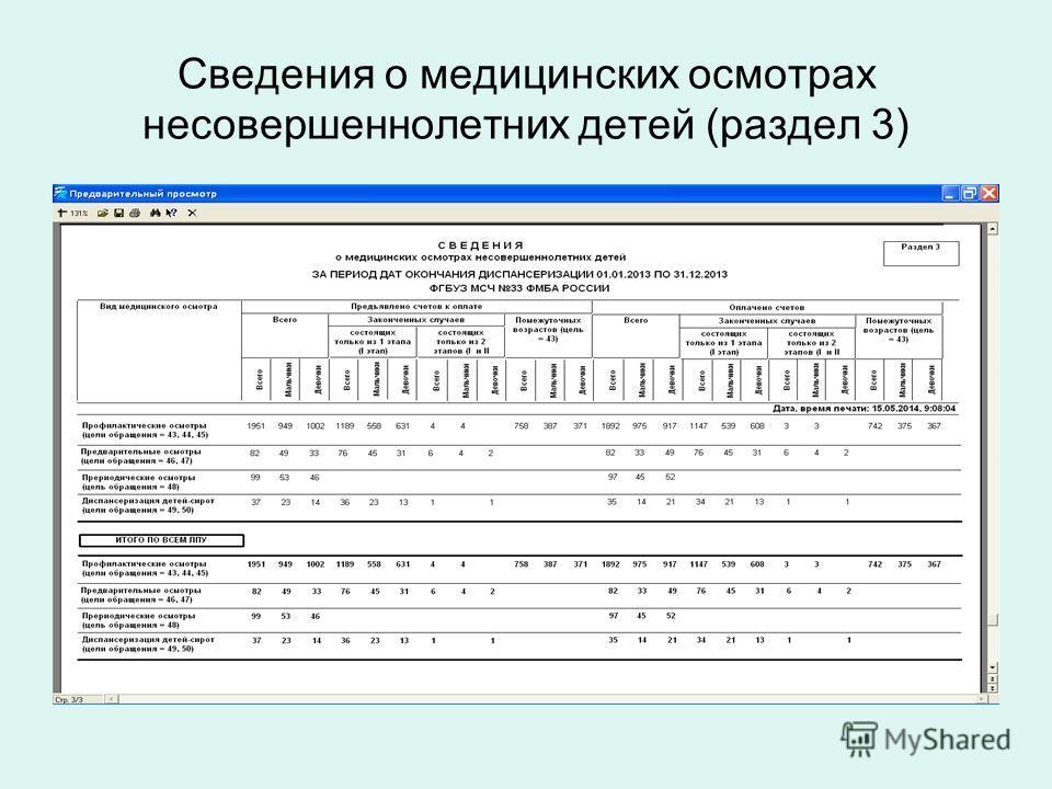 Сведения о медицинских осмотрах несовершеннолетних детей (раздел 3)