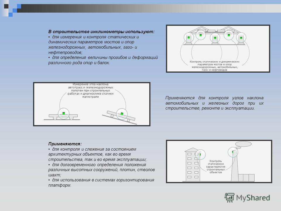 В строительстве инклинометры используют: для измерения и контроля статических и динамических параметров мостов и опор железнодорожных, автомобильных, газо- и нефтепроводов; для определения величины прогибов и деформаций различного рода опор и балок.