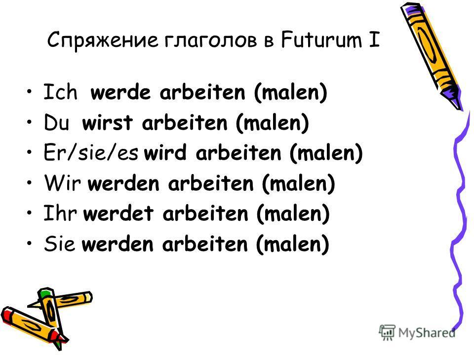 Спряжение глаголов в Futurum I Ich werde arbeiten (malen) Du wirst arbeiten (malen) Er/sie/es wird arbeiten (malen) Wir werden arbeiten (malen) Ihr werdet arbeiten (malen) Sie werden arbeiten (malen)