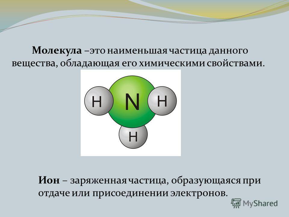 Молекула –это наименьшая частица данного вещества, обладающая его химическими свойствами. Ион – заряженная частица, образующаяся при отдаче или присоединении электронов.