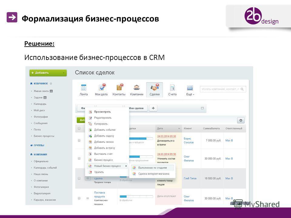 Формализация бизнес-процессов Использование бизнес-процессов в CRM Решение: