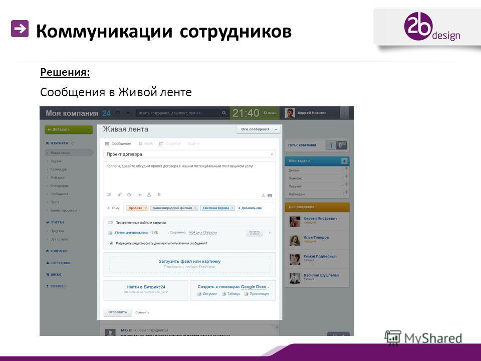 Коммуникации сотрудников Сообщения в Живой ленте Решения: