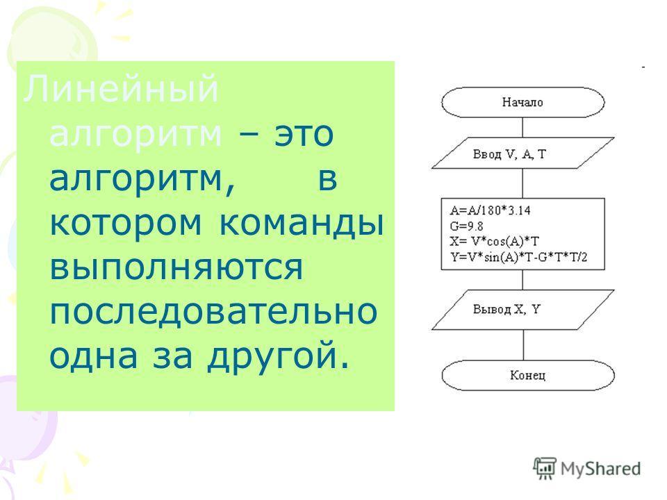 Линейный алгоритм – это алгоритм, в котором команды выполняются последовательно одна за другой.