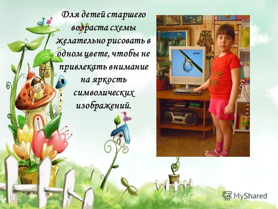 Для детей старшего возраста схемы желательно рисовать в одном цвете, чтобы не привлекать внимание на яркость символических изображений.