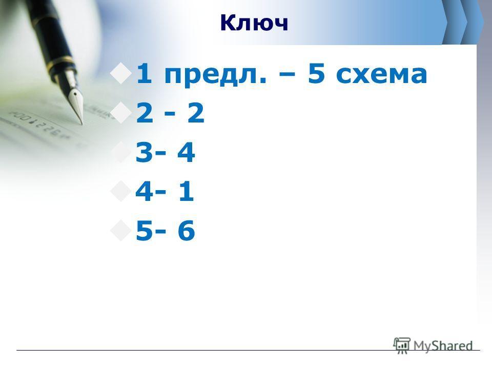 Ключ 1 предл. – 5 схема 2 - 2 3- 4 4- 1 5- 6