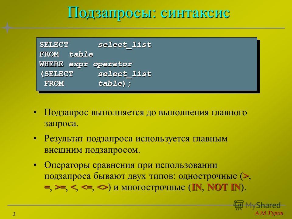 А.М. Гудов 3 Подзапросы: синтаксис Подзапрос выполняется до выполнения главного запроса. Результат подзапроса используется главным внешним подзапросом. > =>= INNOT INОператоры сравнения при использовании подзапроса бывают двух типов: однострочные (>,