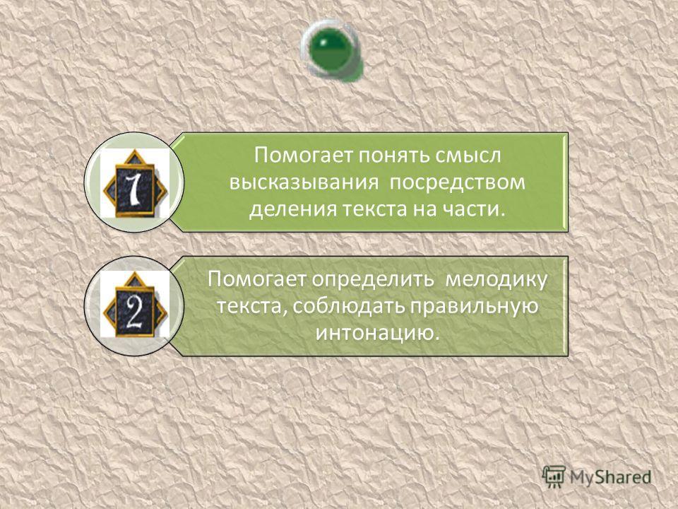 Помогает понять смысл высказывания посредством деления текста на части. Помогает определить мелодику текста, соблюдать правильную интонацию.