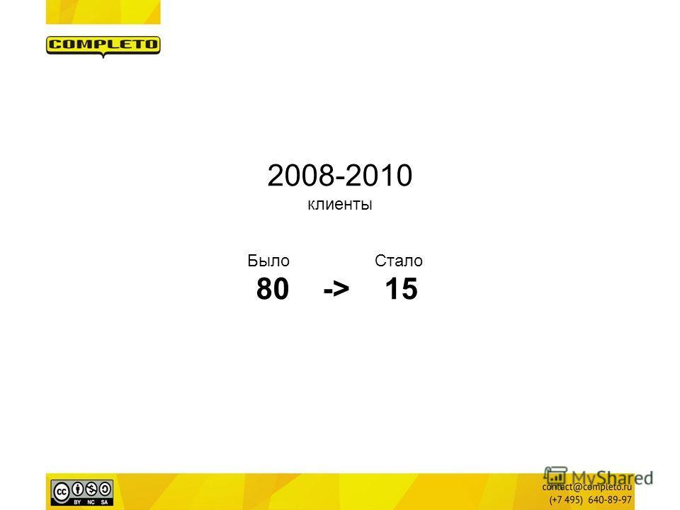 2008-2010 клиенты Было Стало 80 -> 15