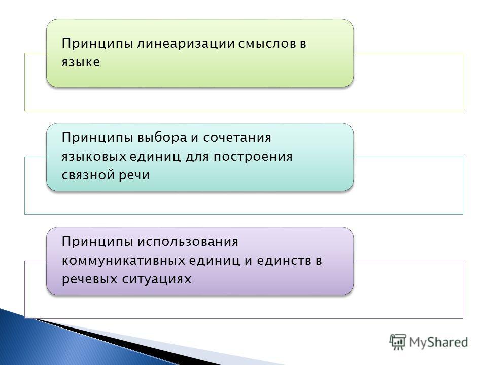 Принципы линеаризации смыслов в языке Принципы выбора и сочетания языковых единиц для построения связной речи Принципы использования коммуникативных единиц и единств в речевых ситуациях