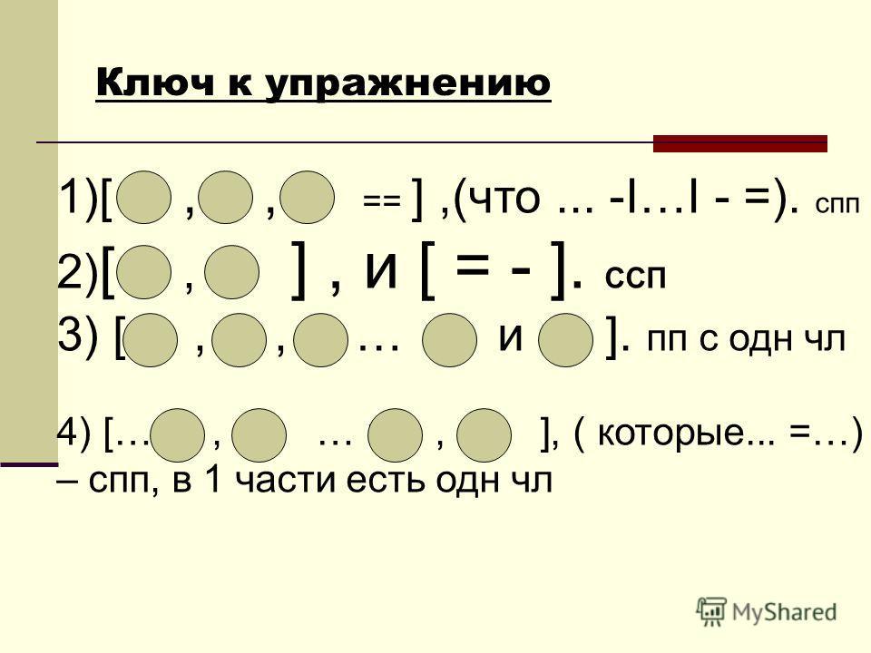 Ключ к упражнению 1)[,, == ],(что... -I…I - =). спп 2) [, ], и [ = - ]. ССП 3) [,, … и ]. пп с одн чл 4) […, … и, ], ( которые... =…) – спп, в 1 части есть одн чл