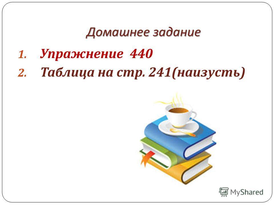 Домашнее задание 1. Упражнение 440 2. Таблица на стр. 241( наизусть )