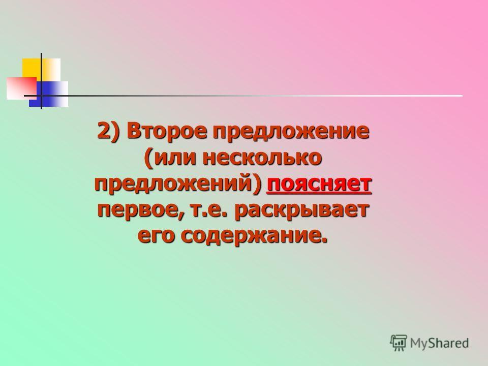 2) Второе предложение (или несколько предложений) поясняет первое, т.е. раскрывает его содержание. поясняет