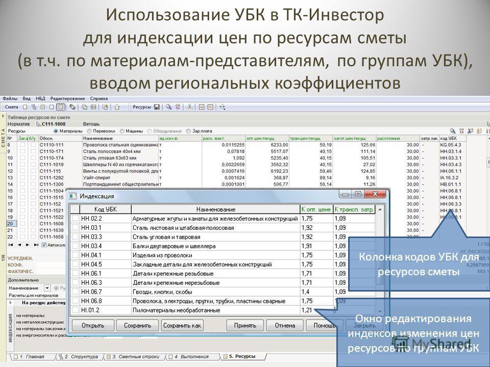Использование УБК в ТК-Инвестор для индексации цен по ресурсам сметы (в т.ч. по материалам-представителям, по группам УБК), вводом региональных коэффициентов Окно редактирования индексов изменения цен ресурсов по группам УБК Колонка кодов УБК для рес