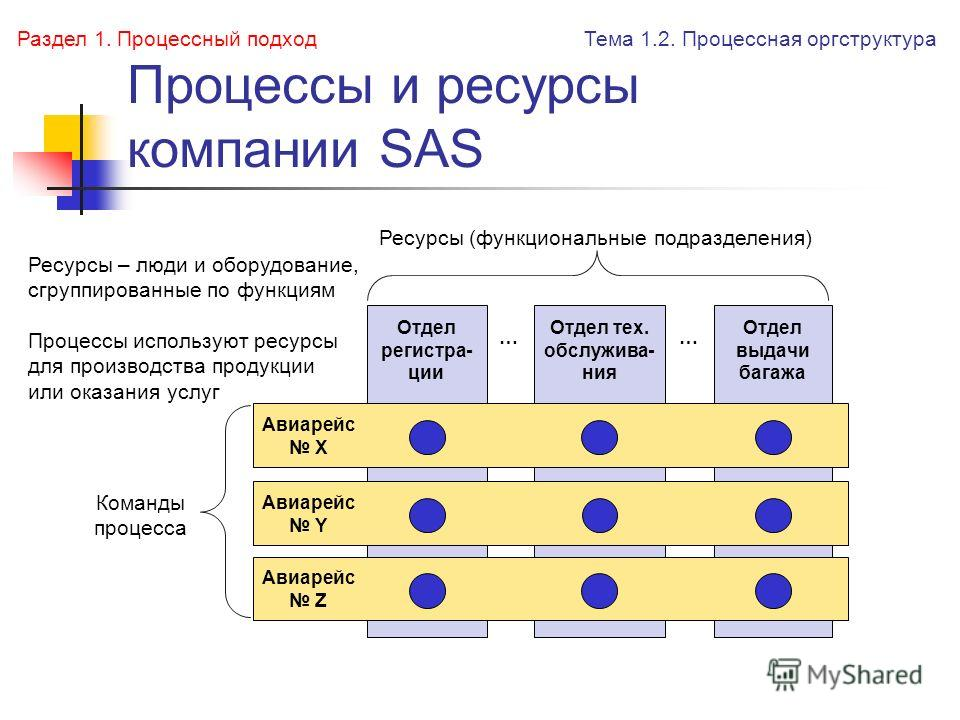 Процессы и ресурсы компании SAS Ресурсы (функциональные подразделения) Отдел регистра- ции Отдел тех. обслужива- ния Отдел выдачи багажа Команды процесса …… Авиарейс X Авиарейс Y Авиарейс Z Тема 1.2. Процессная оргструктура Раздел 1. Процессный подхо