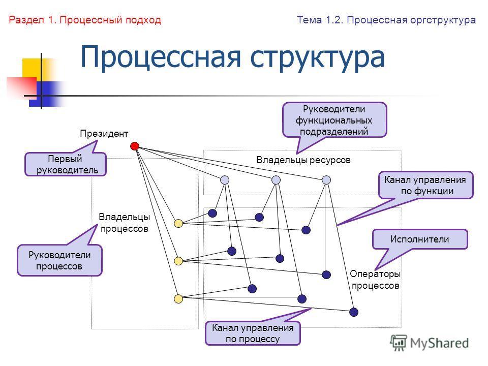 Процессная структура Владельцы ресурсов Операторы процессов Владельцы процессов Президент Тема 1.2. Процессная оргструктура Раздел 1. Процессный подход Первый руководитель Руководители функциональных подразделений Руководители процессов Исполнители К