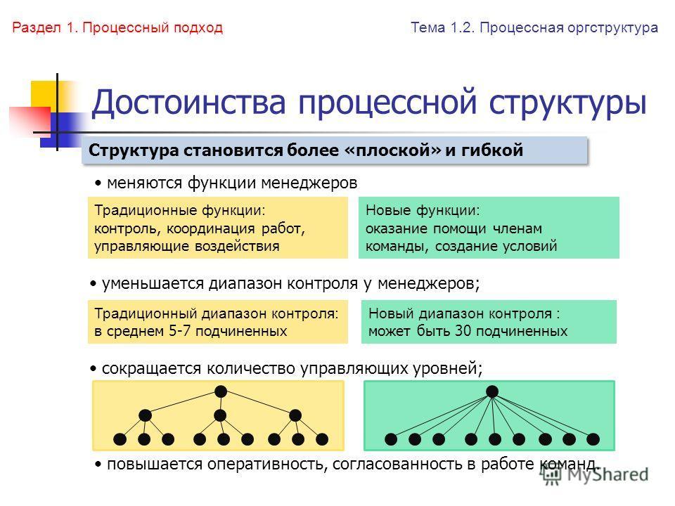 Достоинства процессной структуры уменьшается диапазон контроля у менеджеров; сокращается количество управляющих уровней; меняются функции менеджеров повышается оперативность, согласованность в работе команд. Структура становится более «плоской» и гиб