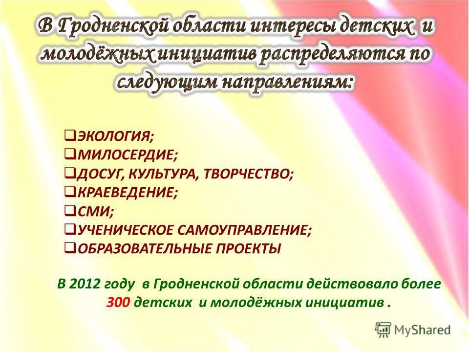 ЭКОЛОГИЯ; МИЛОСЕРДИЕ; ДОСУГ, КУЛЬТУРА, ТВОРЧЕСТВО; КРАЕВЕДЕНИЕ; СМИ; УЧЕНИЧЕСКОЕ САМОУПРАВЛЕНИЕ; ОБРАЗОВАТЕЛЬНЫЕ ПРОЕКТЫ В 2012 году в Гродненской области действовало более 300 детских и молодёжных инициатив.