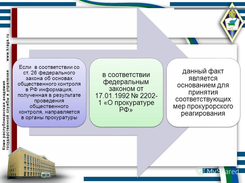 Если в соответствии со ст. 26 федерального закона об основах общественного контроля в РФ информация, полученная в результате проведения общественного контроля, направляется в органы прокуратуры в соответствии федеральным законом от 17.01.1992 2202- 1