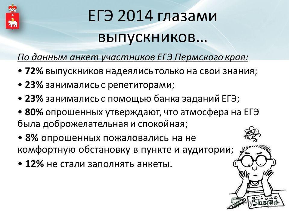 По данным анкет участников ЕГЭ Пермского края: 72% выпускников надеялись только на свои знания; 23% занимались с репетиторами; 23% занимались с помощью банка заданий ЕГЭ; 80% опрошенных утверждают, что атмосфера на ЕГЭ была доброжелательная и спокойн