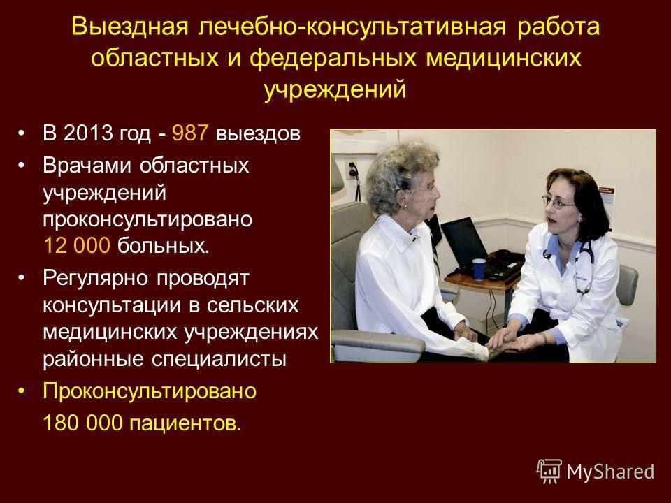 Выездная лечебно-консультативная работа областных и федеральных медицинских учреждений В 2013 год - 987 выездов Врачами областных учреждений проконсультировано 12 000 больных. Регулярно проводят консультации в сельских медицинских учреждениях районны