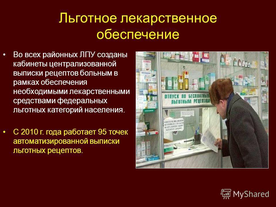 Льготное лекарственное обеспечение Во всех районных ЛПУ созданы кабинеты централизованной выписки рецептов больным в рамках обеспечения необходимыми лекарственными средствами федеральных льготных категорий населения. С 2010 г. года работает 95 точек