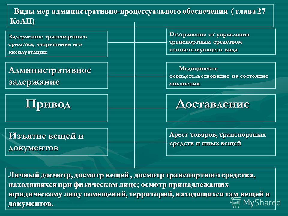 Понятие и виды мер административно-процессуального обеспечения Меры процессуального обеспечения средства принудительного воздействия, направленные на обеспечение производства по делам об административных правонарушениях