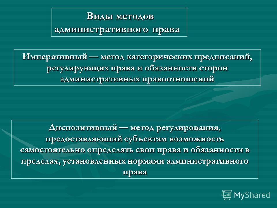 Метод административного права Метод административного права - система правовых способов и приемов регулирующего воздействия норм административного права на управленческие общественные отношения