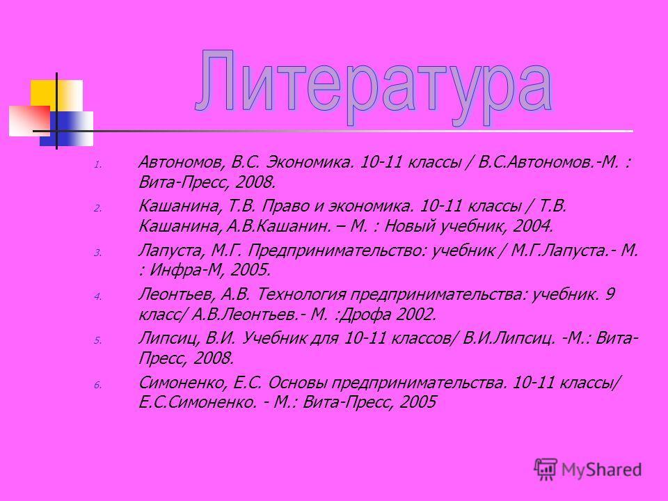 1. Автономов, В.С. Экономика. 10-11 классы / В.С.Автономов.-М. : Вита-Пресс, 2008. 2. Кашанина, Т.В. Право и экономика. 10-11 классы / Т.В. Кашанина, А.В.Кашанин. – М. : Новый учебник, 2004. 3. Лапуста, М.Г. Предпринимательство: учебник / М.Г.Лапуста