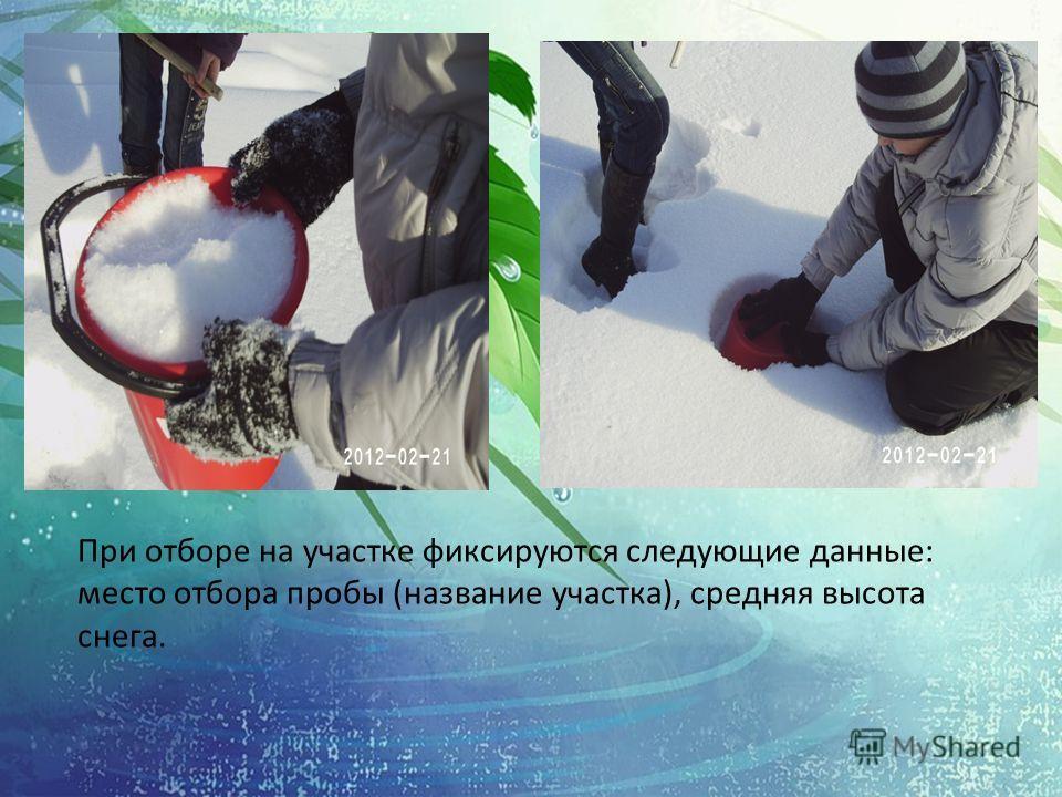 При отборе на участке фиксируются следующие данные: место отбора пробы (название участка), средняя высота снега.