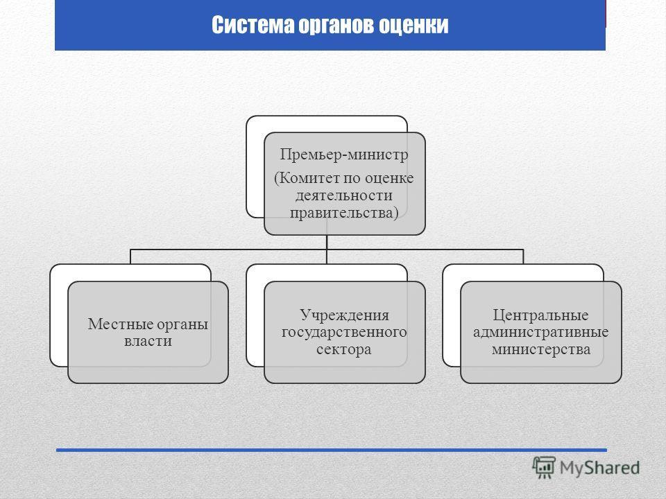 Система органов оценки Премьер-министр (Комитет по оценке деятельности правительства) Местные органы власти Учреждения государственного сектора Центральные административные министерства
