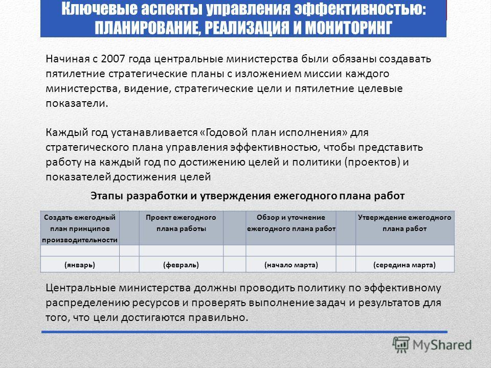 Ключевые аспекты управления эффективностью: ПЛАНИРОВАНИЕ, РЕАЛИЗАЦИЯ И МОНИТОРИНГ Начиная с 2007 года центральные министерства были обязаны создавать пятилетние стратегические планы с изложением миссии каждого министерства, видение, стратегические це