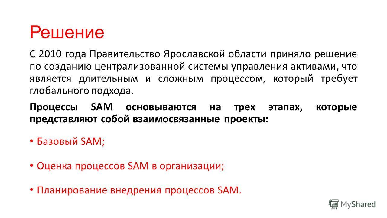 Решение С 2010 года Правительство Ярославской области приняло решение по созданию централизованной системы управления активами, что является длительным и сложным процессом, который требует глобального подхода. Процессы SAM основываются на трех этапах