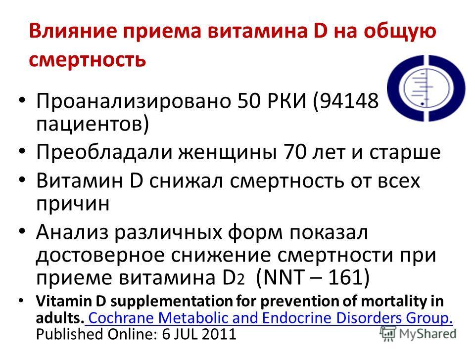Влияние приема витамина D на общую смертность Проанализировано 50 РКИ (94148 пациентов) Преобладали женщины 70 лет и старше Витамин D снижал смертность от всех причин Анализ различных форм показал достоверное снижение смертности при приеме витамина D