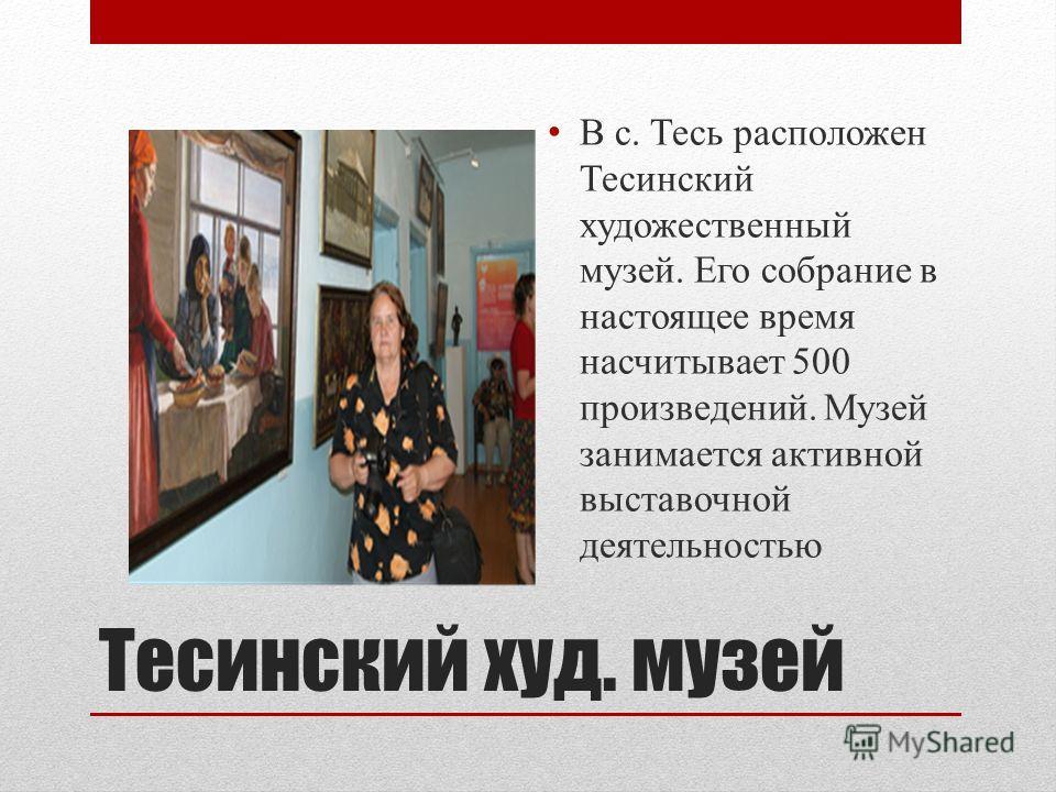 Тесинский худ. музей В с. Тесь расположен Тесинский художественный музей. Его собрание в настоящее время насчитывает 500 произведений. Музей занимается активной выставочной деятельностью
